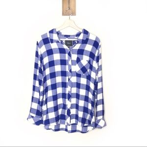 Rails blue and white checkered button up shirt